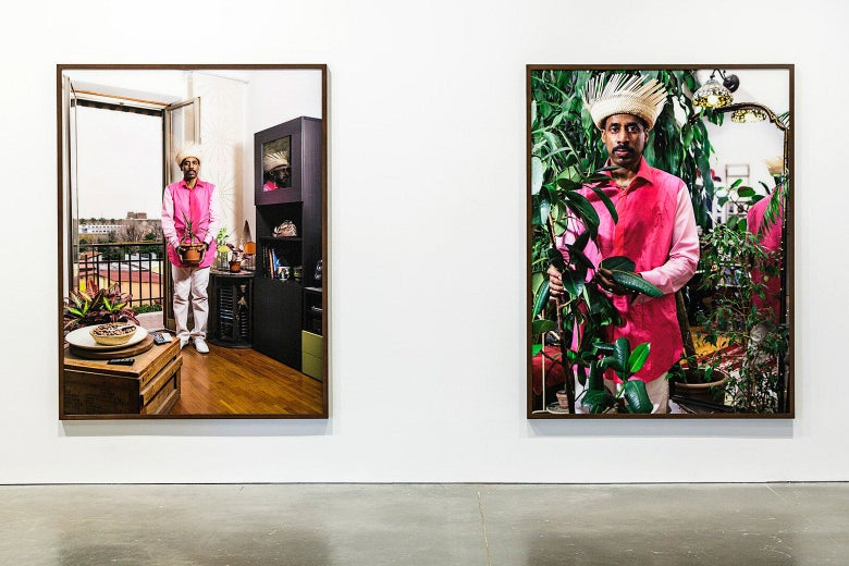 Two photos depicting a man in his home and amongst plants in Nari Ward's Sun Splashed exhibition at ICA Boston.