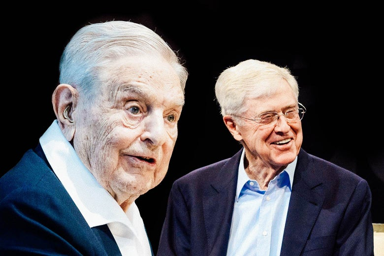 Collage of Soros and Koch.