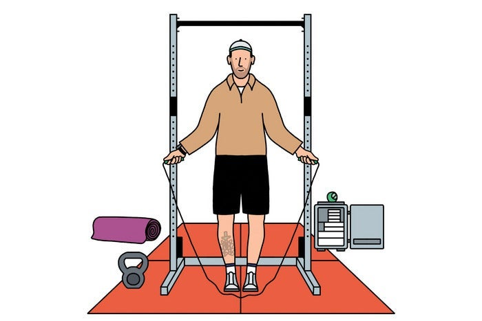 illustration of a man jumping rope in a gym