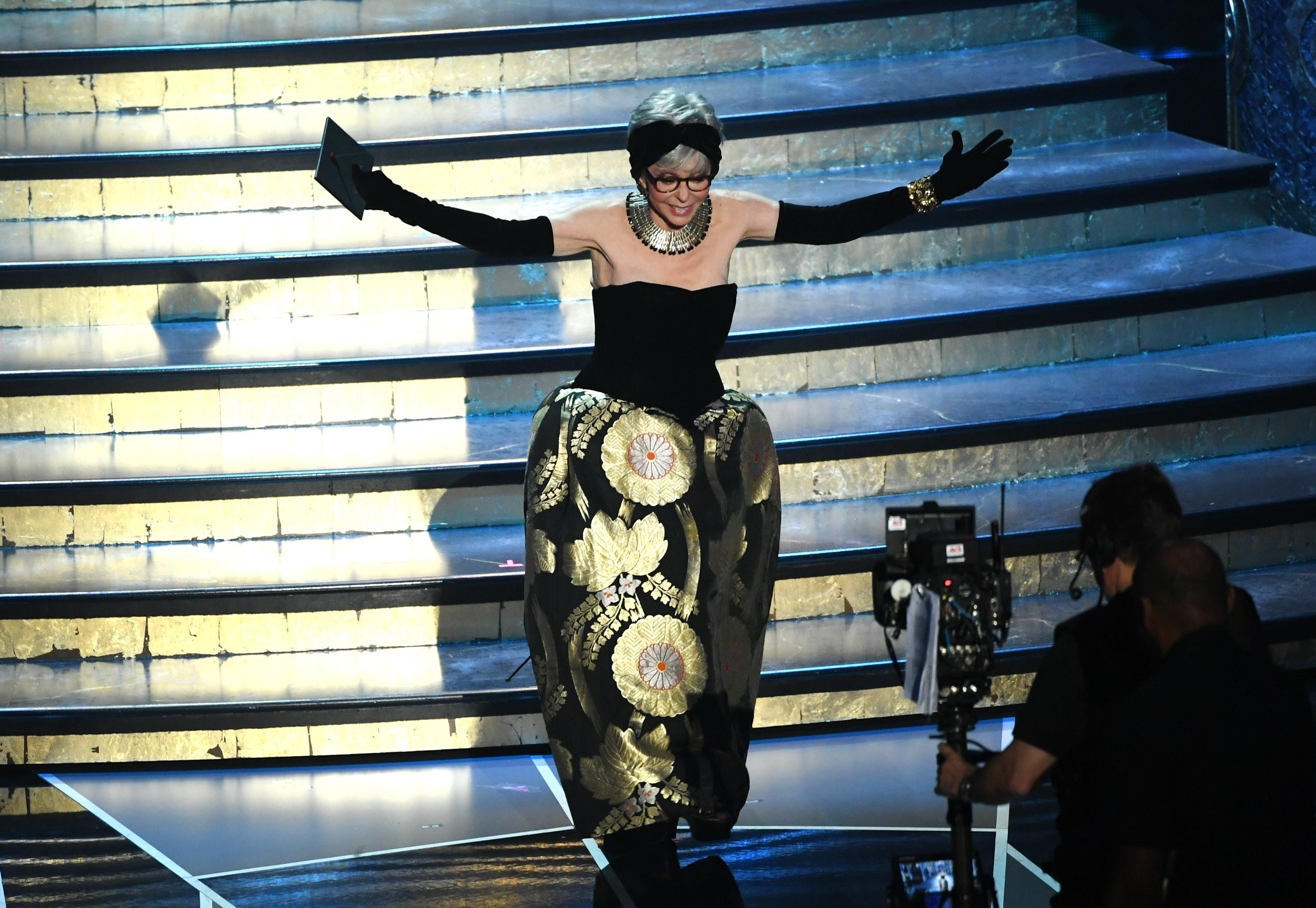 HOLLYWOOD, CA - MARCH 04:  Actor Rita Moreno walks onstage during the 90th Annual Academy Awards at the Dolby Theatre at Hollywood & Highland Center on March 4, 2018 in Hollywood, California.  (Photo by Kevin Winter/Getty Images)