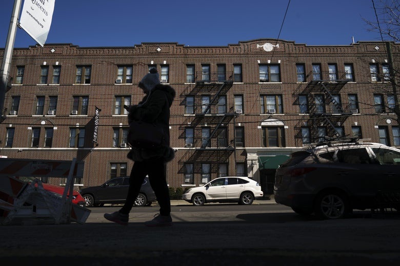 An apartment building formerly owned by the Kushner Companies, run by the family of White House senior adviser Jared Kushner, stands in the Astoria neighborhood of Queens, March 19, 2018 in New York City. In dozens of rental buildings across New York City, the Kushner Companies filed false paperwork declaring that the buildings had zero rent-regulated tenants. The move allowed the company to push out rent-controlled tenants, raise rents and boost profits when it later sold the buildings. (Photo by Drew Angerer/Getty Images)