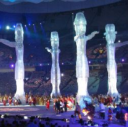Totem poles at the opening ceremony. Click image to expand.