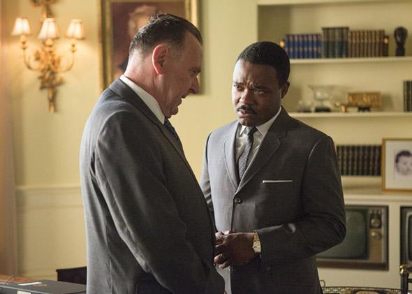 "Tom Wilkinson as Lyndon B. Johnson and David Oyelowo as Dr. King in ""Selma."""