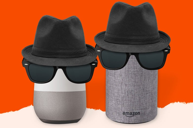 Google Home and Amazon Echo devices wearing disguises.
