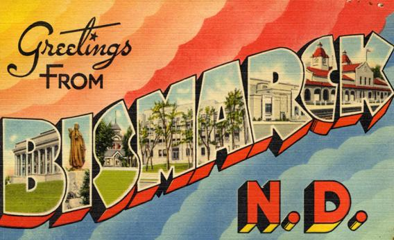 Large letter postcard from Bismarck, North Dakota, 1945.