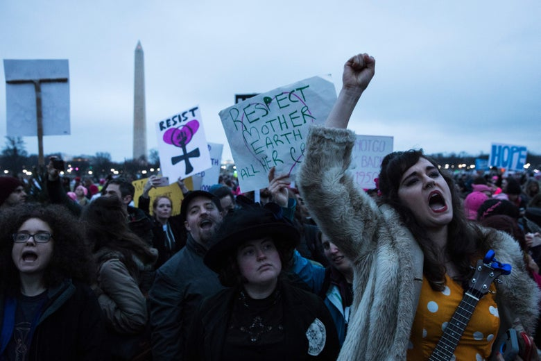 A demonstrator chants during the Women's March on Washington January 21, 2017 in Washington, D.C.