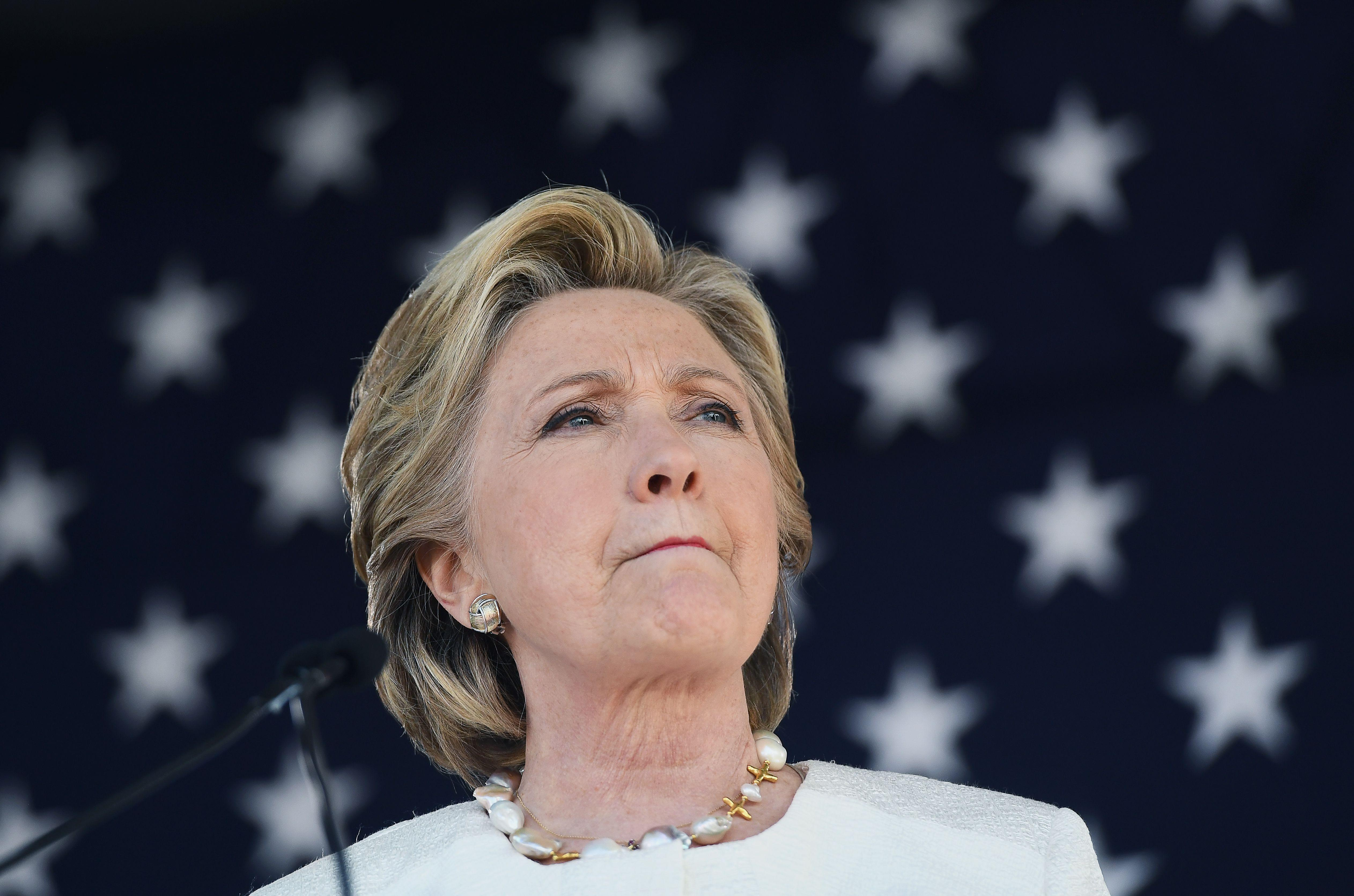 U.S. Democratic presidential nominee Hillary Clinton speaks during a campaign rally.