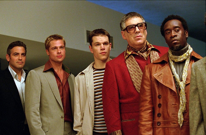 Brad Pitt, George Clooney, Don Cheadle, Matt Damon, Elliott Gould in Ocean's Eleven.