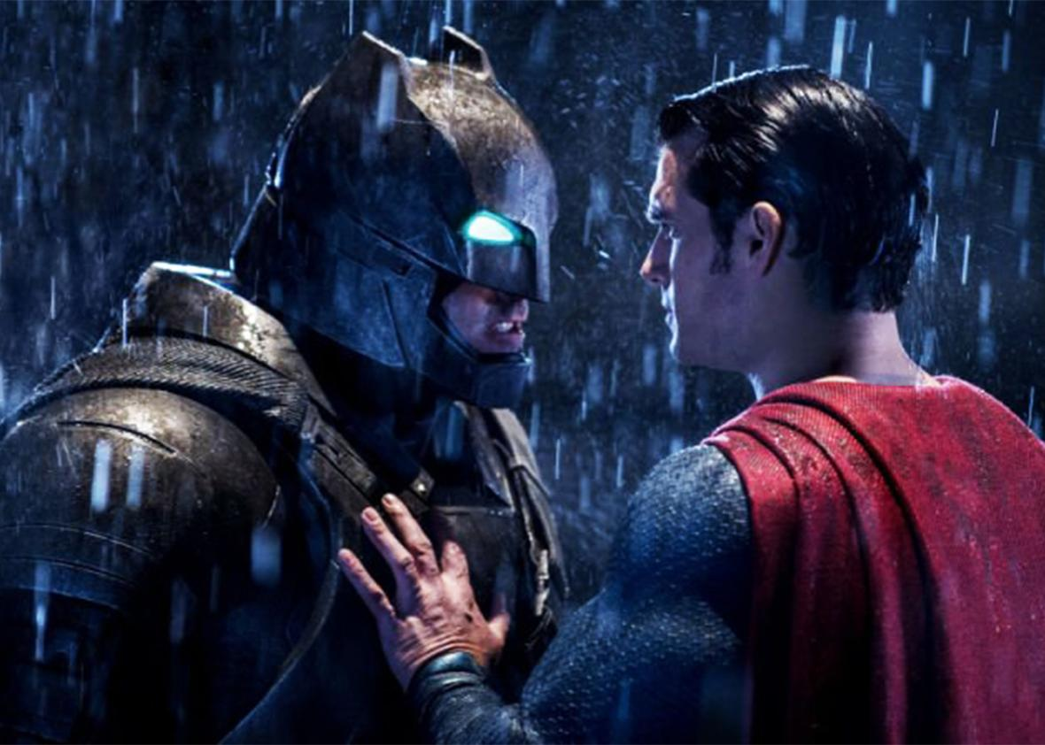 Still of Ben Affleck and Henry Cavill in Batman v Superman: Dawn of Justice.