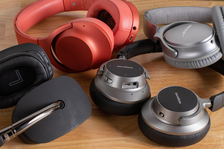 assorted headphones