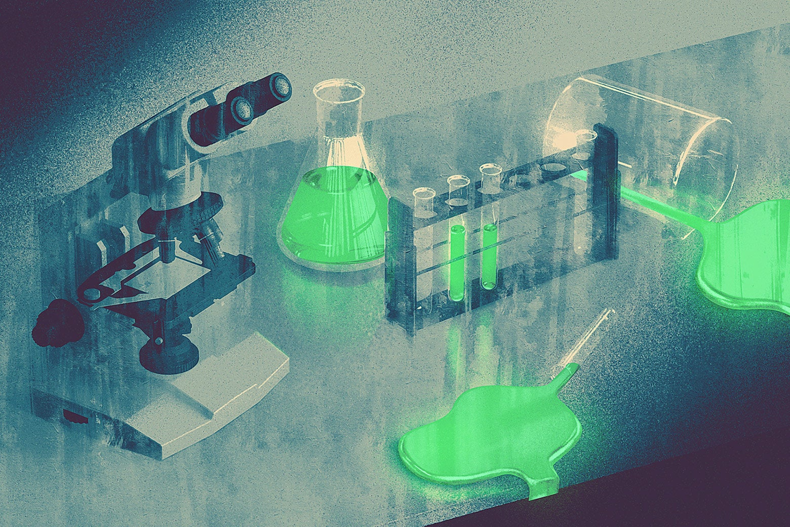 An illustration of a lab counter with test tubes and a microscope.