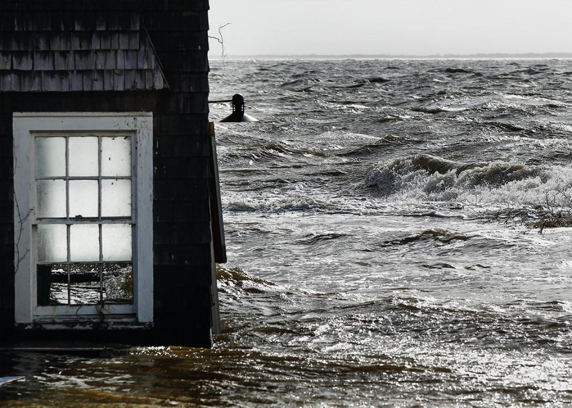Hurricane Sandy damaged home
