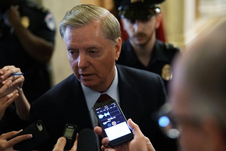 Sen. Lindsey Graham (R-SC) speaks to reporters at the U.S. Capitol, October 5, 2018 in Washington, D.C.