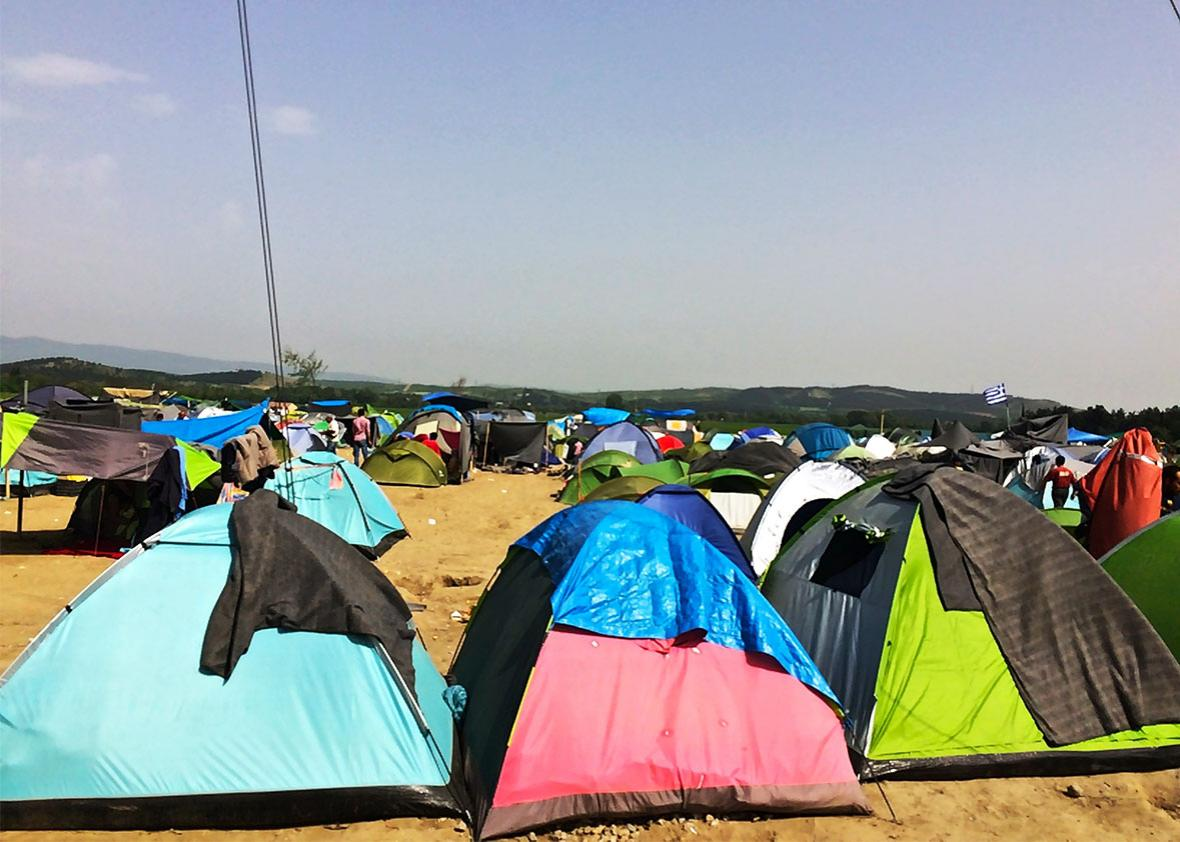 Refugees at the Idomeni camp live in donated tents.