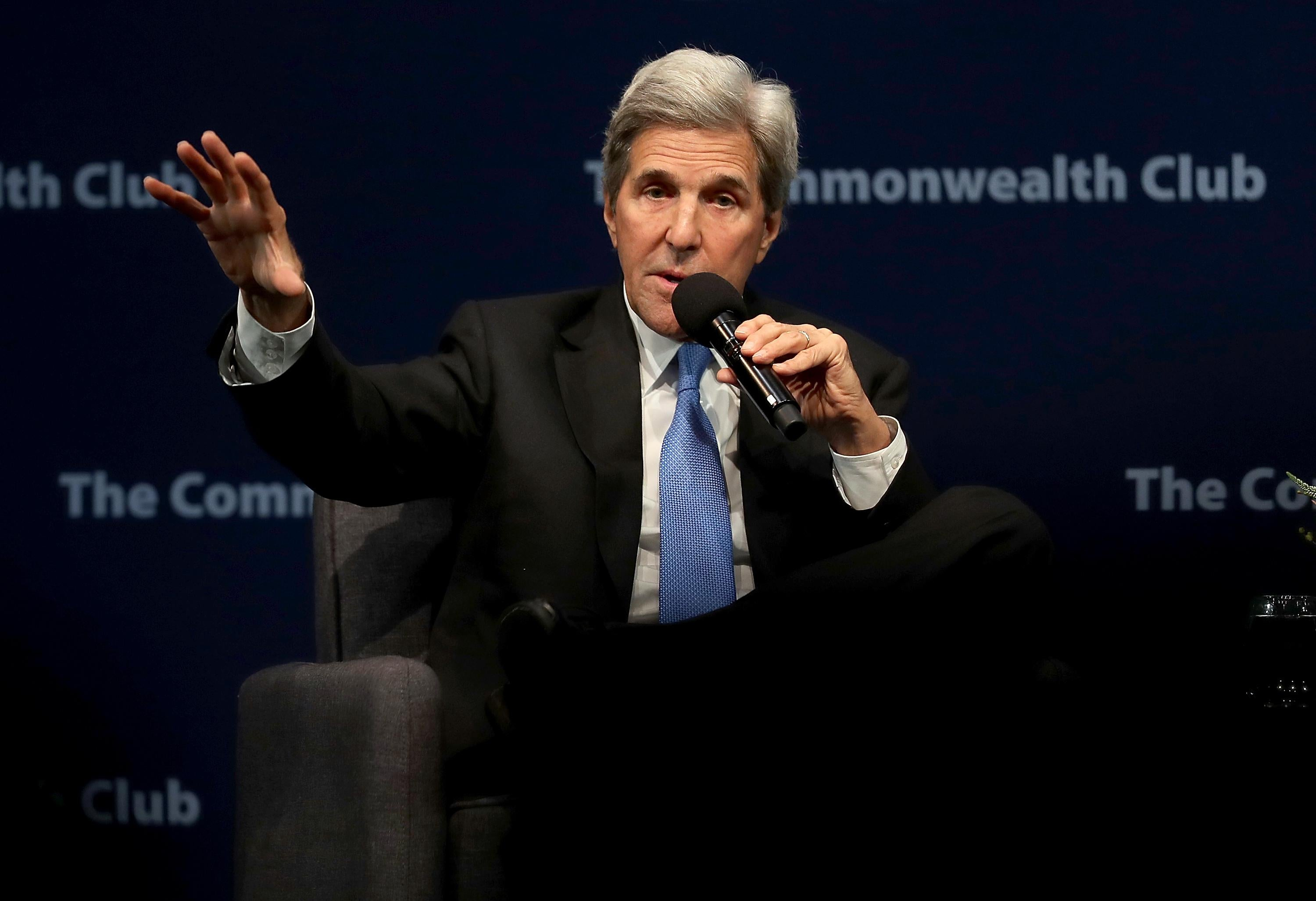Former Secretary of State John Kerry speaks during a Commonwealth Club of California event at the Marines' Memorial Theatre on September 13, 2018 in San Francisco, California.