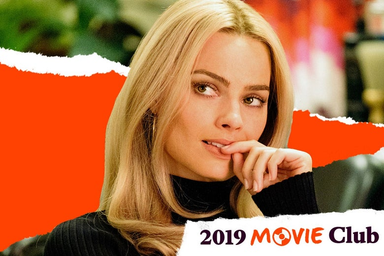 Margot Robbie as Sharon Tate, putting her finger up to her lips.