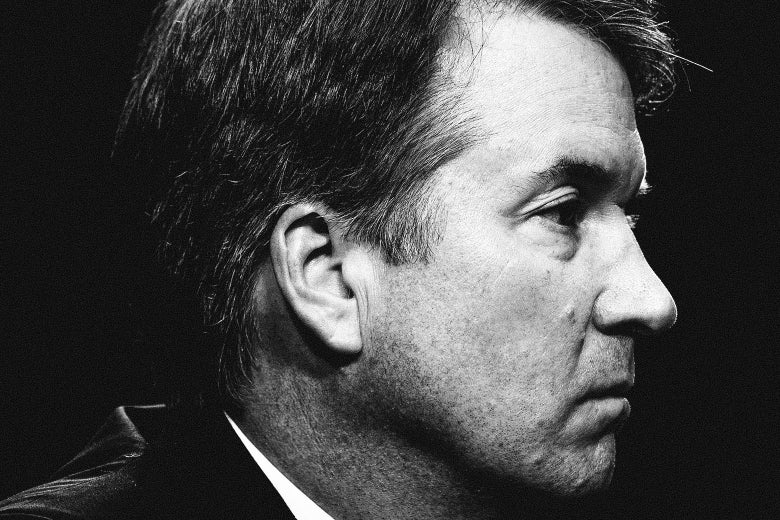 A black-and-white photo of Brett Kavanaugh.
