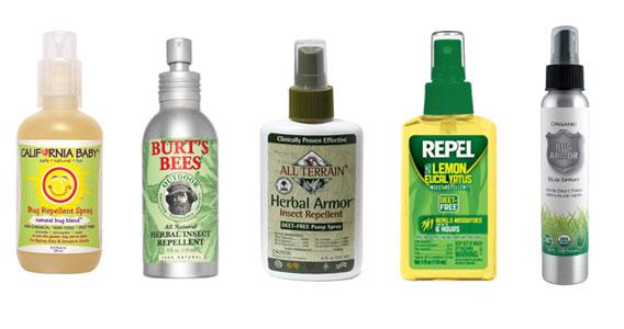 Product shots of natural bug sprays.