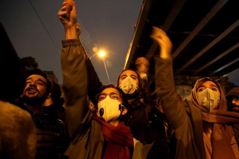Iranians shout slogans against the government outside Amirkabir University in Tehran, Iran on Jan. 11.