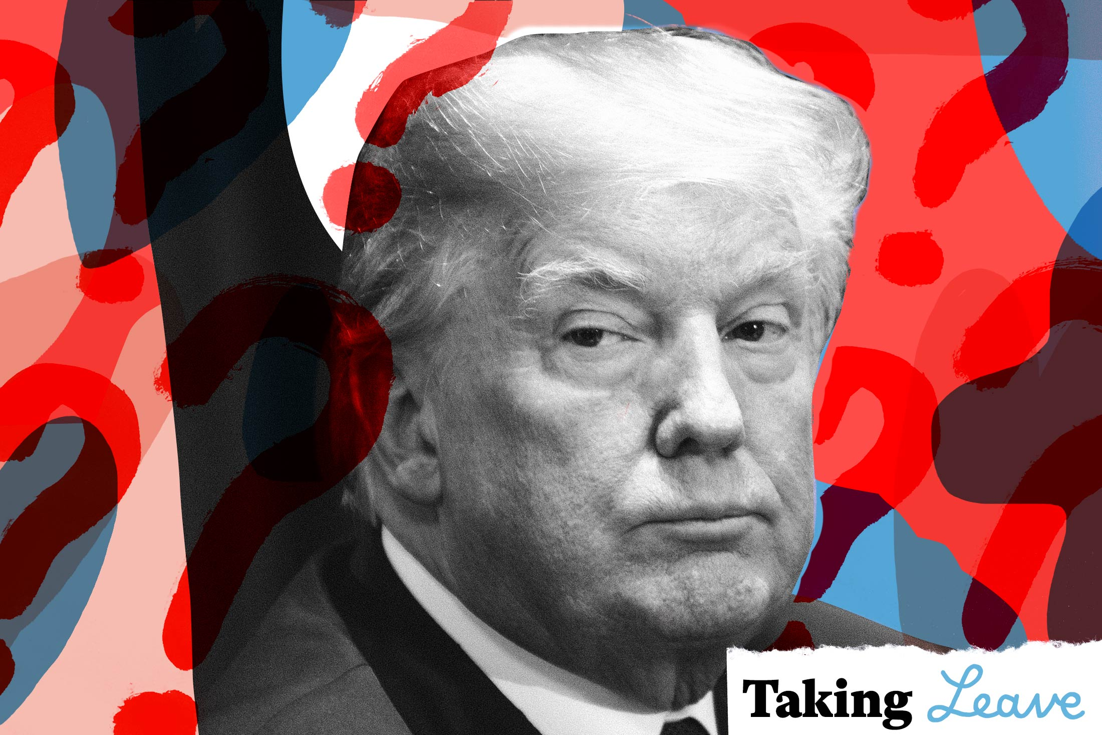 Photo illustration: Donald Trump surrounded by question marks.