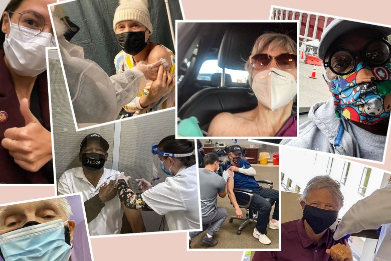 A collage of celeb vaccine selfies.
