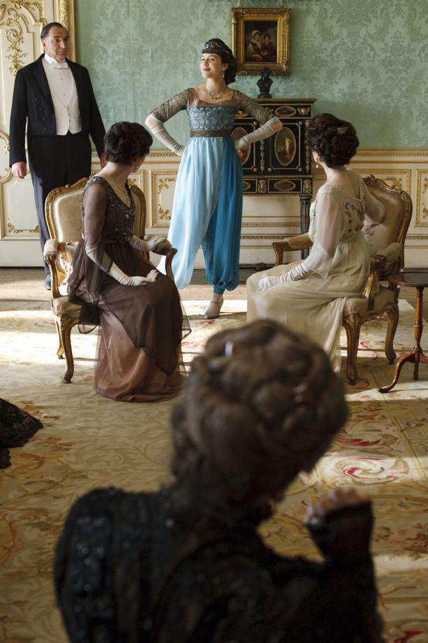 Shocking evening harem pants for the character of Lady Sybil Crawley, played by Jessica Brown Findlay.