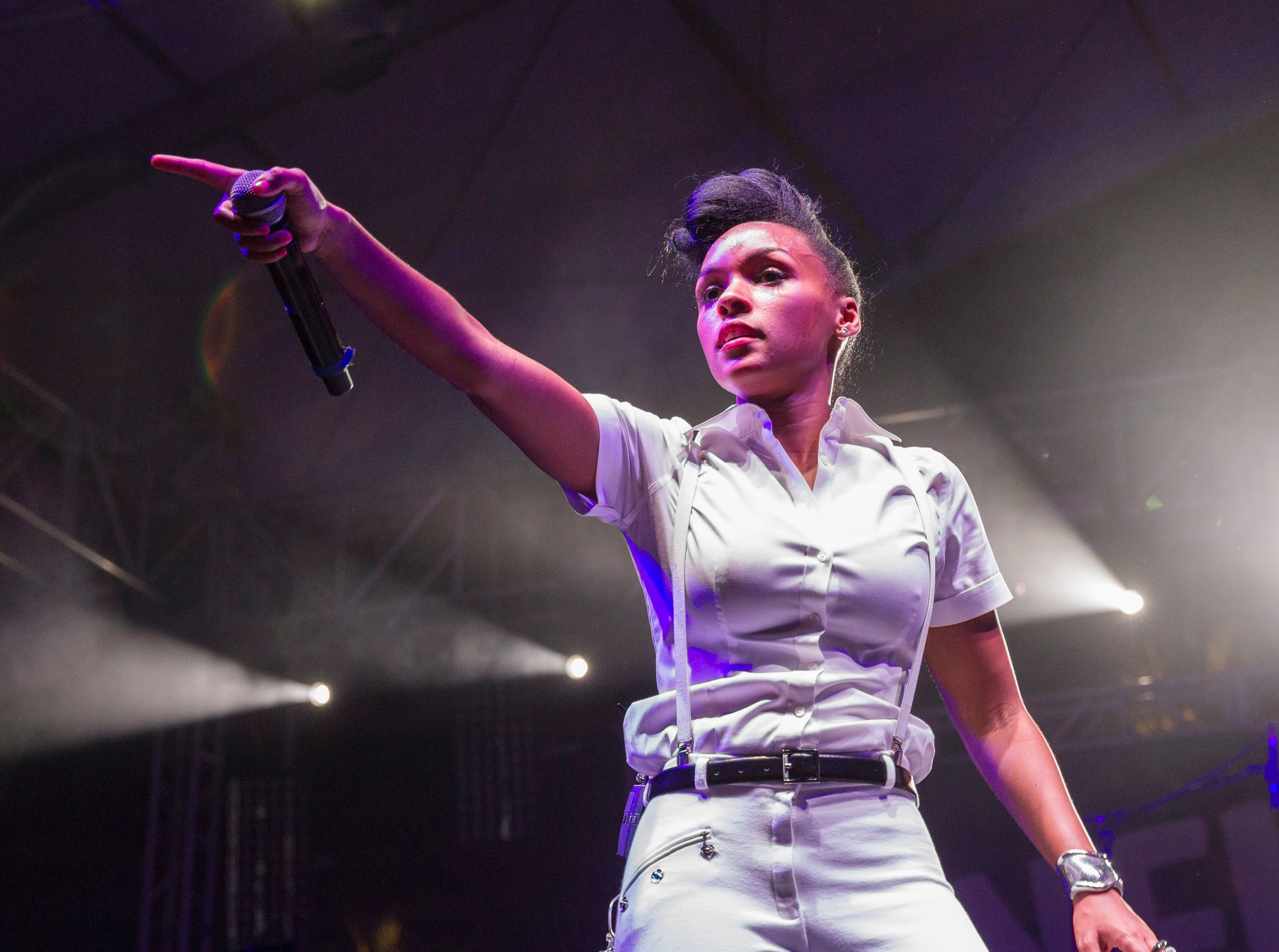 Singer Janelle Monae performs at 2013 Coachella Valley Music And Arts Festival - Weekend 2 at the Empire Polo Club on April 20, 2013 in Indio, California.