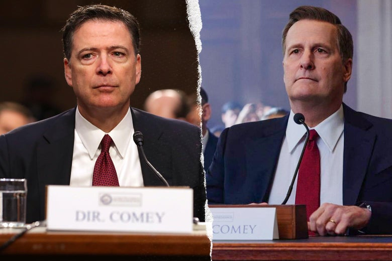 James Comey, and Jeff Daniels as James Comey in The Comey Rule.