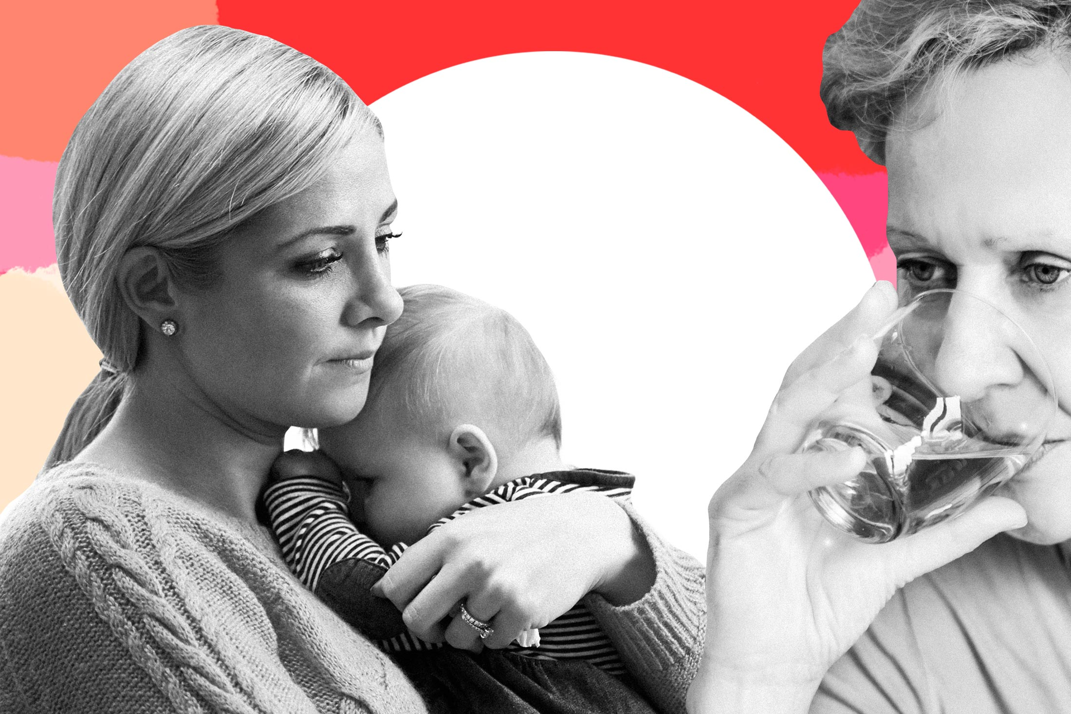 Photo illustration of a grandmother drinking besides a new mother holding her infant.
