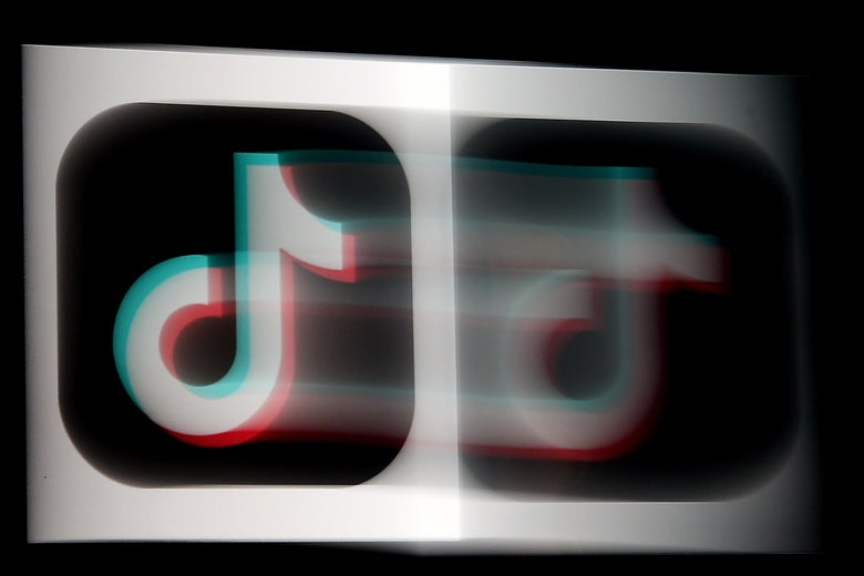 The TikTok logo blurred