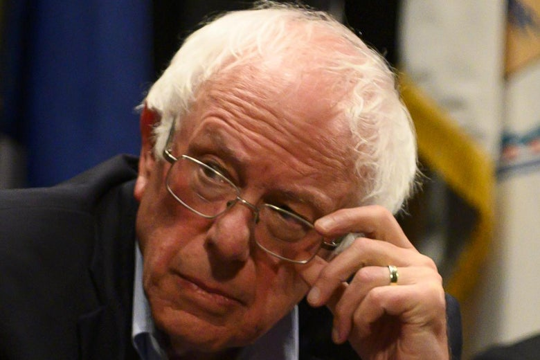 A zoomed-in shot of a noticeably wrinkly Bernie Sanders forehead