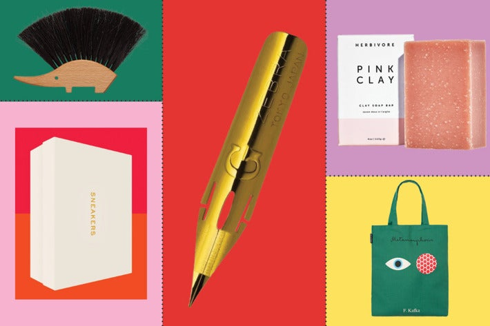 A collage of gifts, including a brush and a tote bag.