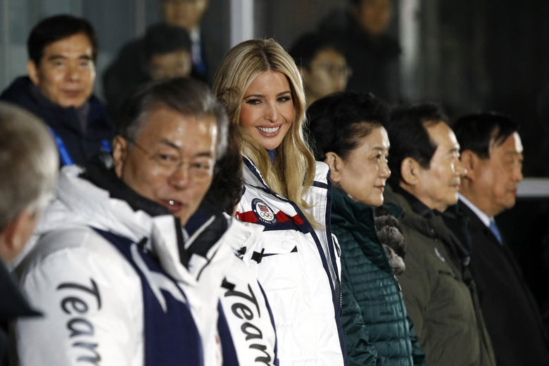 South Korea's President Moon Jae-in and senior White House adviser Ivanka Trump attend the closing ceremony of the Pyeongchang 2018 Winter Olympic Games.