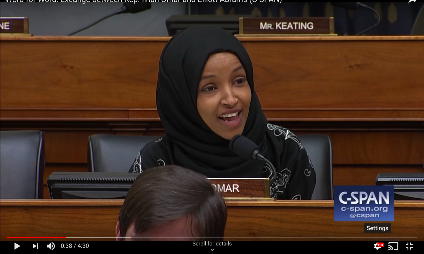 A screenshot from the video of the exchange. Omar is speaking from her seat on the committee.