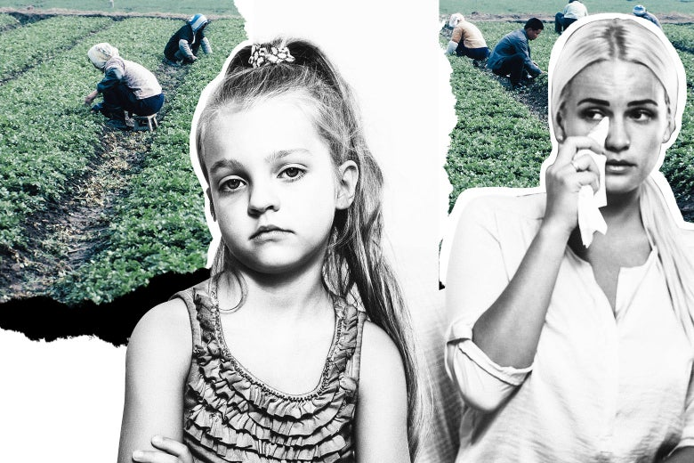 Photo illustration: A young girl mugs for the camera while an au pair dabs at her eyes with a tissue. Photo illustration by Slate. Photos by Thinkstock.