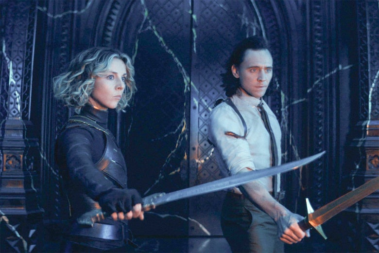 Loki and Sylvie, holding swords.