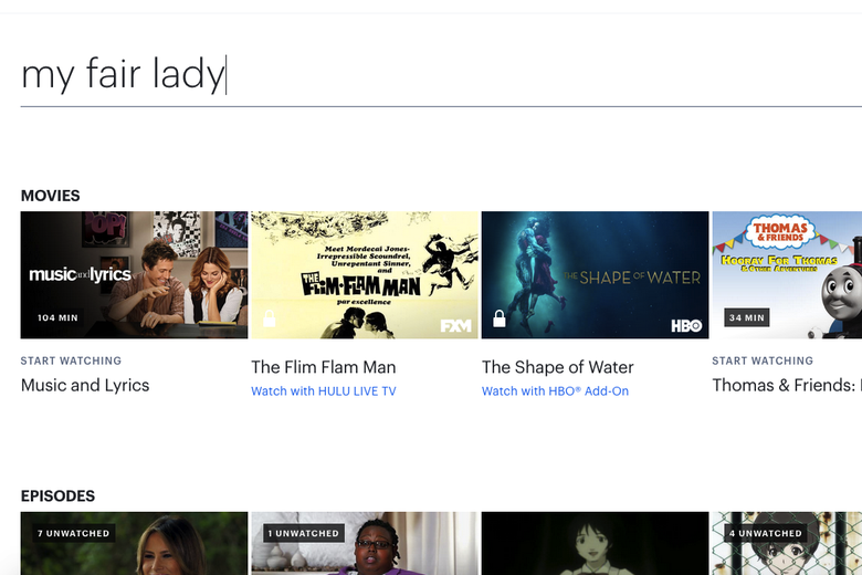 Turns out Hulu doesn't stream My Fair Lady!