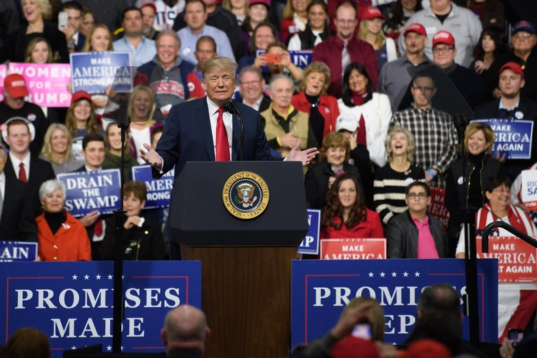 President Donald J. Trump  speaks to supporters at the Atlantic Aviation Hanger on March 10, 2018 in Moon Township, Pennsylvania.