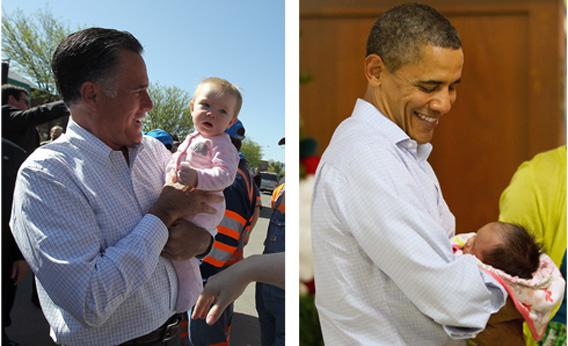 President Obama and Mitt Romney holding babies.
