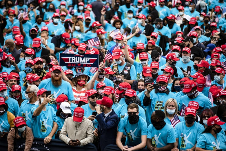 Supporters cheer as they wait for President Donald Trump to address a rally in support of law and order on the South Lawn of the White House on October 10, 2020 in Washington, D.C.