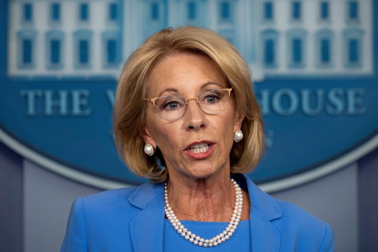 DeVos speaks in the White House press briefing room