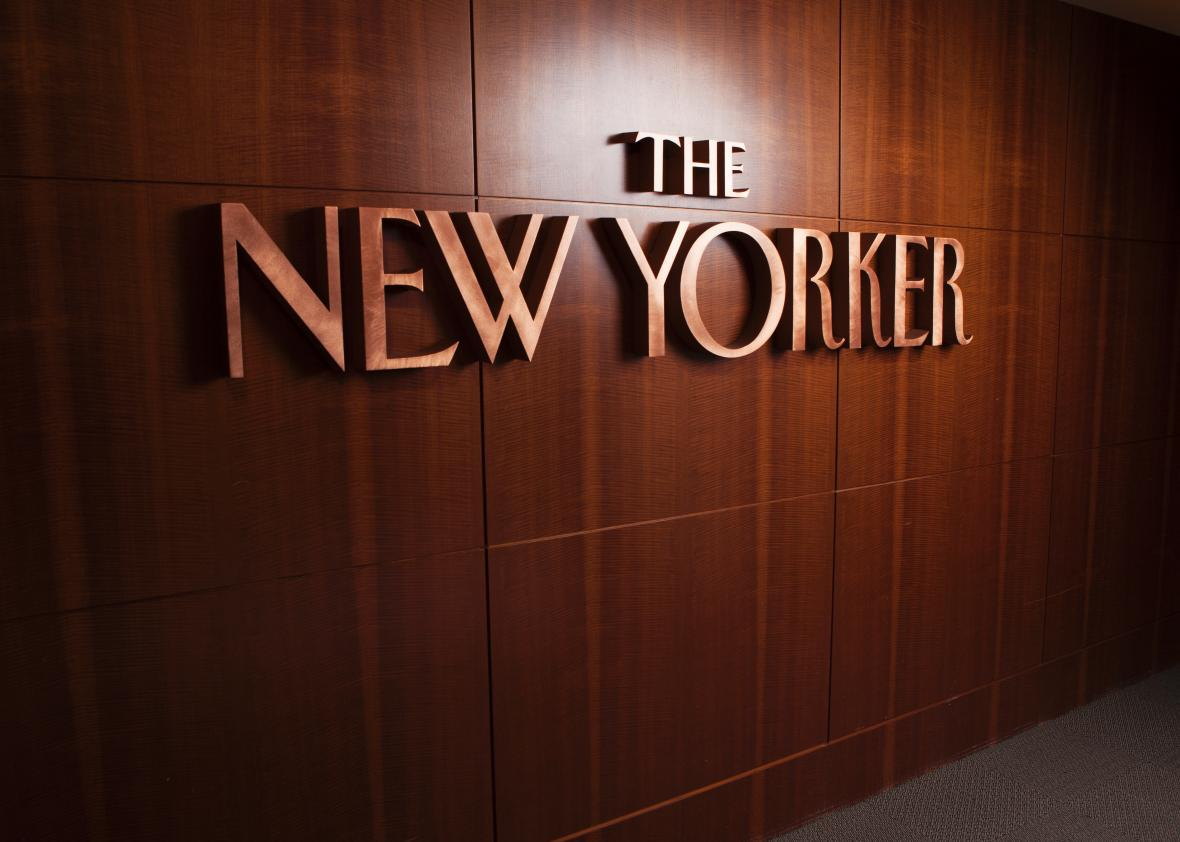 The New Yorker logo lines the entryway to the magazine's offices in New York, NY on March 26th, 2014.