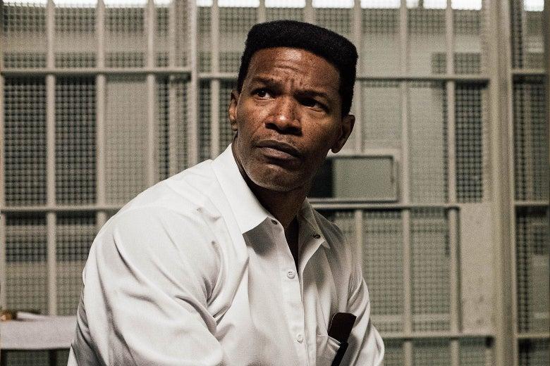 Jamie Foxx in a prison uniform.