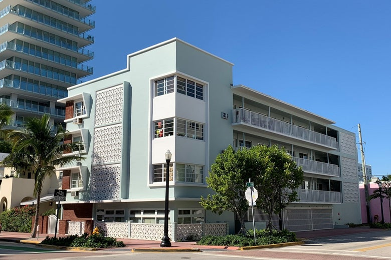 An apartment building in Miami Beach.