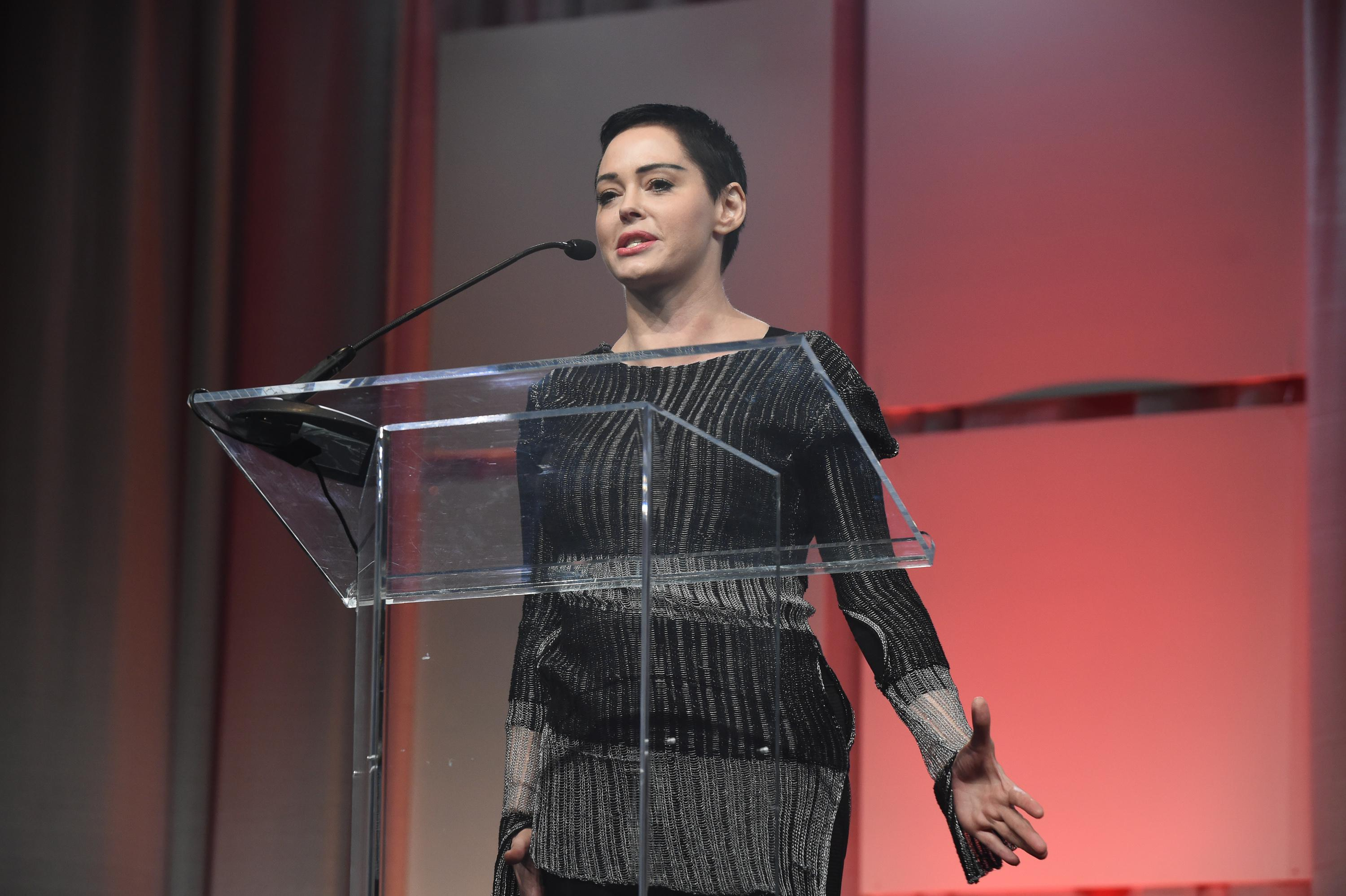 Actress Rose McGowan speaks on stage at The Women's Convention at Cobo Center on October 27, 2017 in Detroit, Michigan..