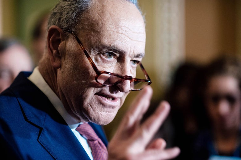 Sen. Chuck Schumer talks to media after a weekly Senate Democratic Policy Luncheon on Tuesday.