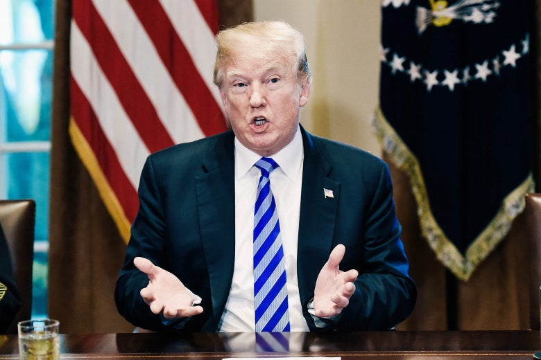 U.S. President Donald Trump speaks during a meeting with California leaders in the White House on Wednesday.