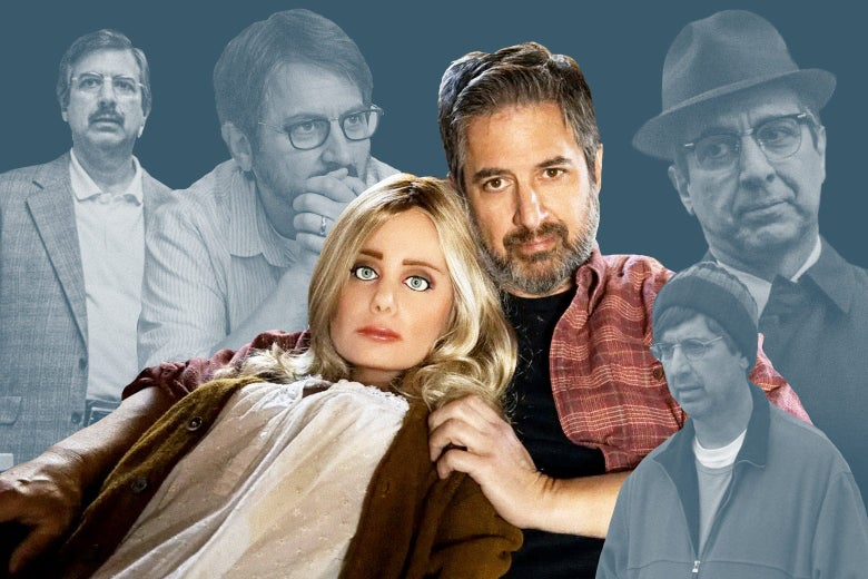 Ray Romano in Bad Education (in glasses and a mustache), The Big Sick (glasses and beard), The Irishman (fedora), Paddleton (scruff, beanie), and, in the foreground, Made for Love (with his arm around his sex doll).
