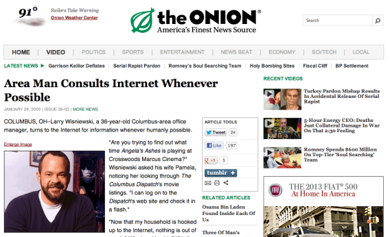 The Onion Internet Parody Area Man Was Just Ahead Of His Time
