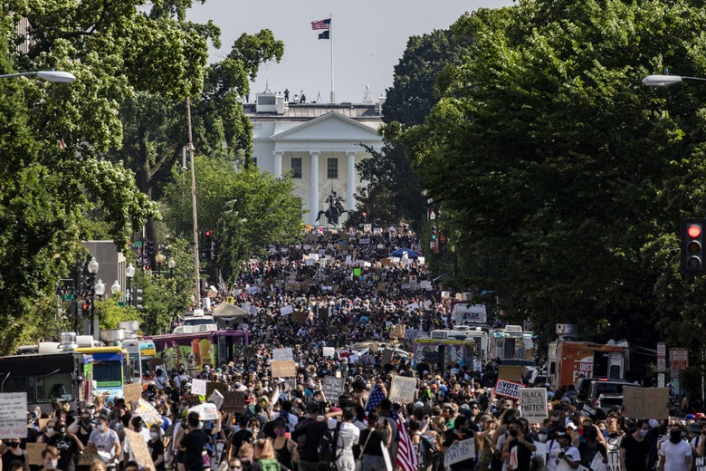 Protesters stretch for more than five blocks, from Scott Circle NW to H Street NW, during demonstrations over the death of George Floyd near the White House on June 6, 2020 in Washington, D.C.